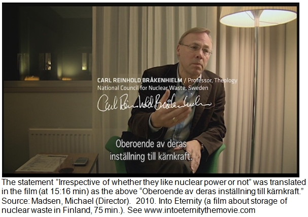 Comment on Statement by Professor Carl Reinhold Bråkenhielm in the Film Into Eternity