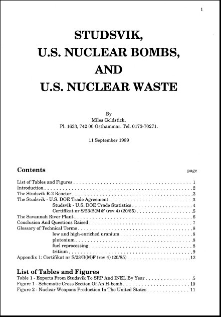 Goldstick, Miles. 1989. Studsvik, U.S. Nuclear Bombs, and U.S. Nuclear Waste